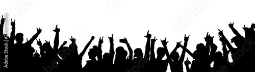 Fototapeta Rock music concert crowd silhouette isolated on white background obraz