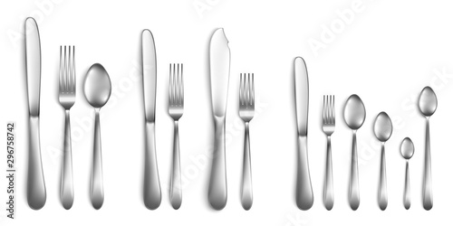 Cuadros en Lienzo  Fork, spoon and knife - cutlery set realistic vector illustrations isolated