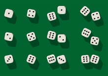 Top View Of White Dice. Casino...