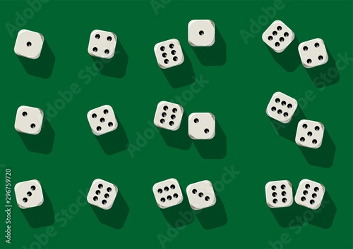 Obraz na płótnie Top view of white dice. Casino dice on green