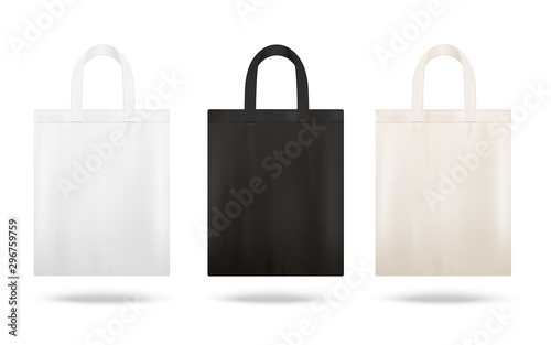 Reusable shopping tote bag mockup set with different fabric colors Fotobehang