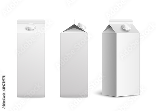 Fényképezés Juice or milk blank packaging mockup 3d realistic vector illustration isolated