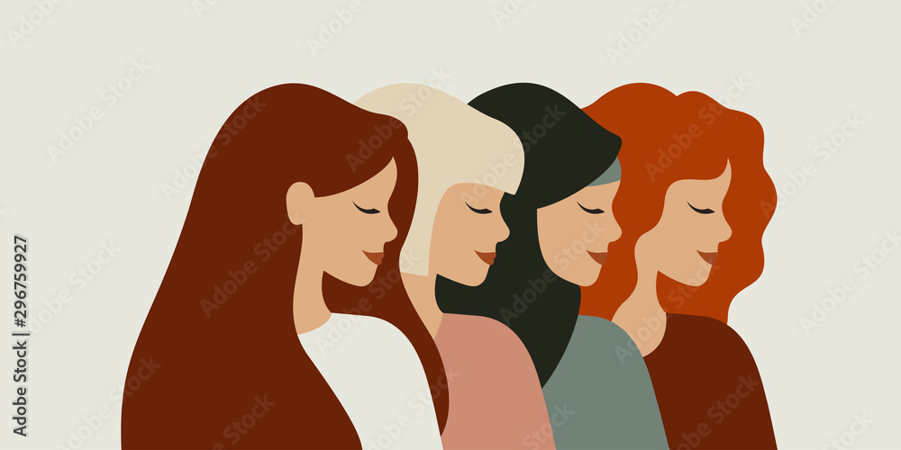 Fototapeta International women day. Diverse female portraits of different nationalities and cultures isolated from the background. The concept of the women's empowerment movement.