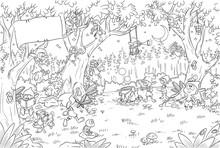 Niedliche Kobolde Im Wald - Vektor-Illustration