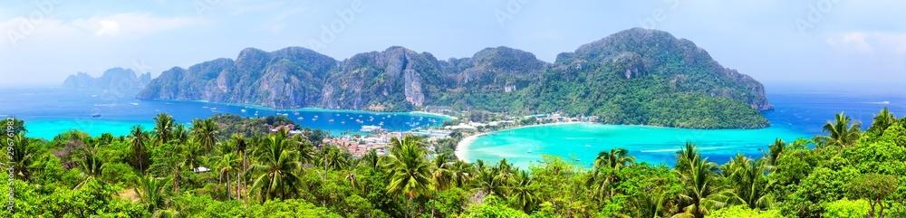 Fototapeta Panoramic view of beautiful tropical Phi Phi island.