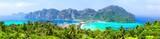 Panoramic view of beautiful tropical Phi Phi island.