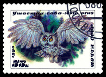 Postage Stamp. Long-eared Owl.