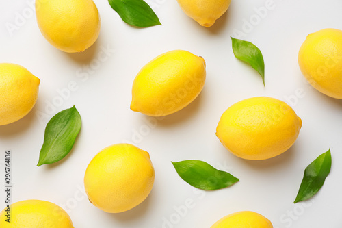 Ripe lemons on white background Poster Mural XXL