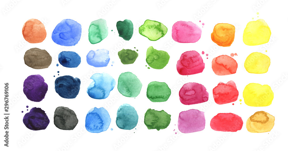 Fototapety, obrazy: Set of watercolor spots, watercolor palette