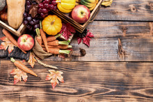 Thanksgiving Background With Fruit And Vegetable On Wood In Autumn And Fall Harvest Season.Copy Space For Text.
