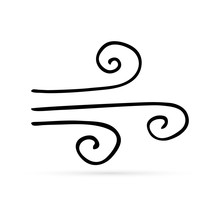Doodle Hand Drawing Wind Icon, Vector Illustration