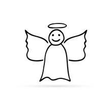 Doodle Angel Icon, Hand Drawin...