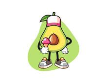 Avocado Hold Ice Cream Mascot Design Vector. Cartoon Character Illustration For Business, T Shirt, Sticker.