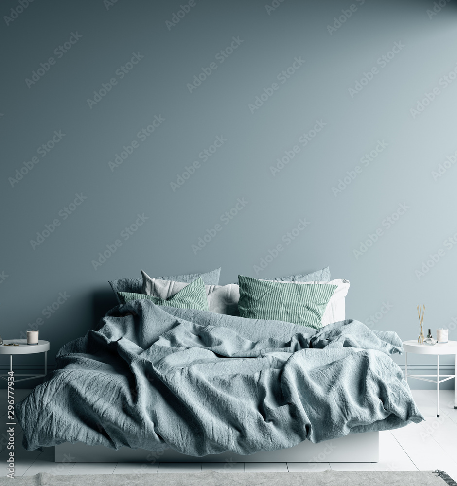 Fototapety, obrazy: Dark cold blue bedroom interior with linen sheet on bed, wall mock up, 3d render