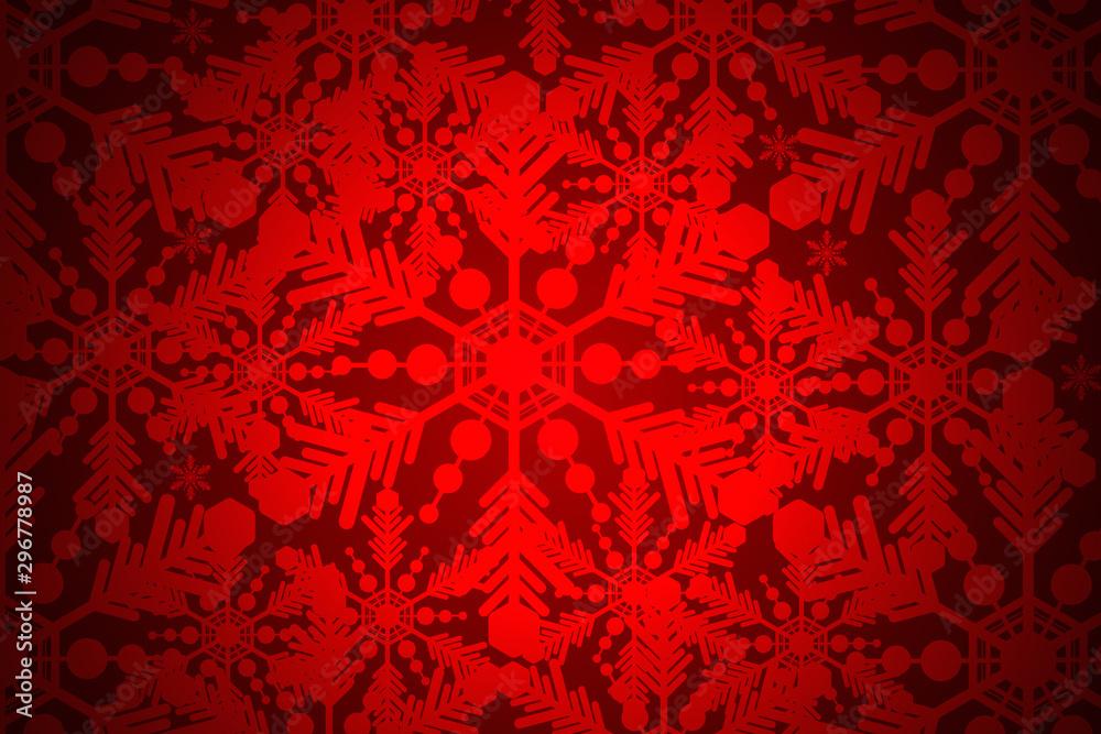 Fototapeta White snowflakes beautiful on a red background