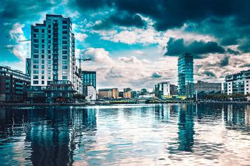 Evening Grand Canal view in Dublin city on a cloudy day. Irish modern city landcsape.Hanover Dock, Grand Canal Dock, Dublin