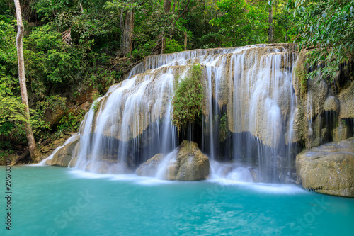 Poster Bleu nuit Waterfall level 2, Erawan National Park, Kanchanaburi, Thailand