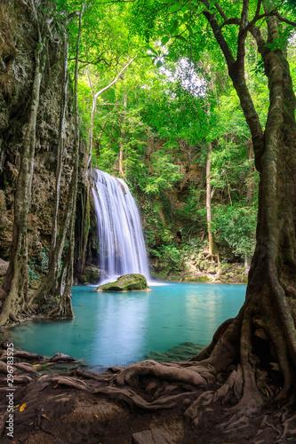 Obraz Waterfall cliff level 3, Erawan National Park, Kanchanaburi, Thailand - fototapety do salonu