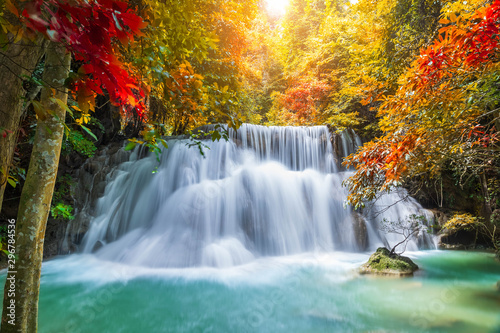 Fototapety, obrazy: Colorful majestic waterfall in national park forest during autumn - Image