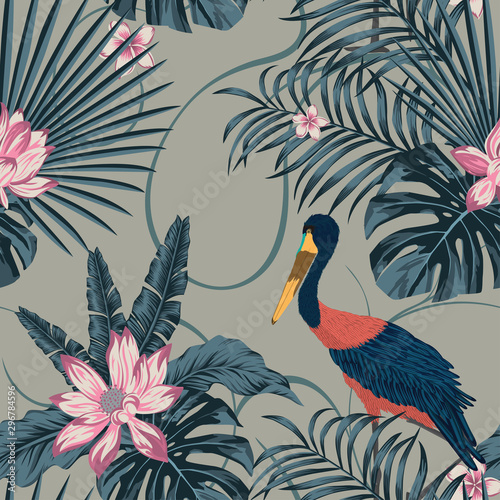 Jungle tropic abstract color stork bird seamless