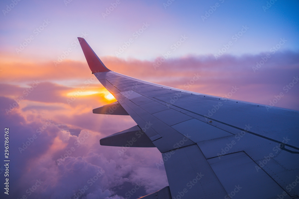Fototapety, obrazy: Beautiful sunset, sky on the top view, airplane flying view from inside window aircraft of Traveling.