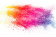 canvas print picture - Colorful background of pastel powder explosion.Multi colored dust splash on white background.Painted Holi.