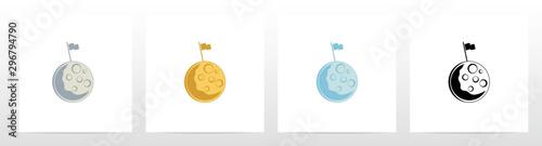 Fotografía Flag On A Moon Logo Design