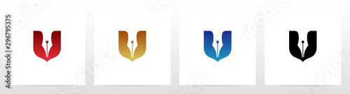Pen And Shield Logo Design Canvas Print