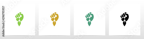 Fotografiet  Fist And Leaf Logo Design