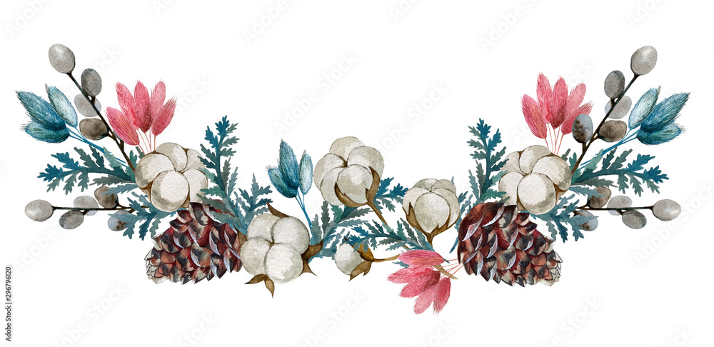 Fototapety, obrazy: watercolor dried flowers, cotton, cones.