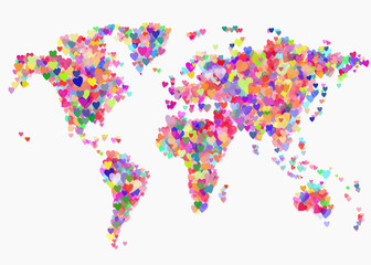 Creative World map with colorful hearts. Planet Earth with love symbol. Tolerance, peace and love concept. Abstract illustration