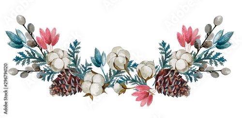 watercolor dried flowers, cotton, cones. Wallpaper Mural