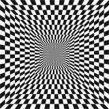 Fototapeta Fototapety przestrzenne i panoramiczne - Abstract optical illusion of B&W tunnel out into the distance, black and white geometric pattern, psychedelic, chess board, OP art, Optical art as background pattern - vector, illustration