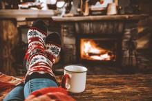 Legs In Winter Christmas Socks...