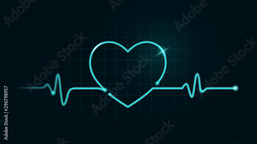 Fotografie, Tablou  Pulse rate Line in Heart shape on green chart background