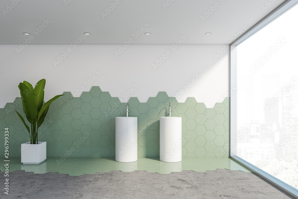 Fototapety, obrazy: White and green tile bathroom, freestanding sink
