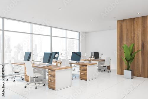 Fototapeta White and wooden modern office corner obraz na płótnie