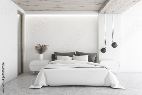 Foto op Canvas Wild West Luxury white minimalistic bedroom interior