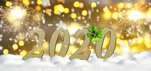 2020 In Gold Mit Glücksbringe.