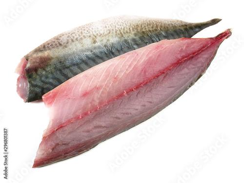 Photo Mackerel Fillets - Raw Mackerel Fish on white Background