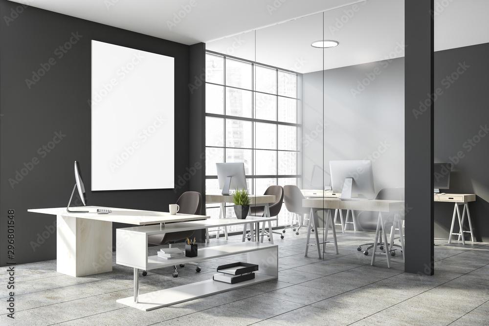 Fototapeta Poster in gray open space office interior