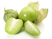 Mexican Tomatillo On White Background