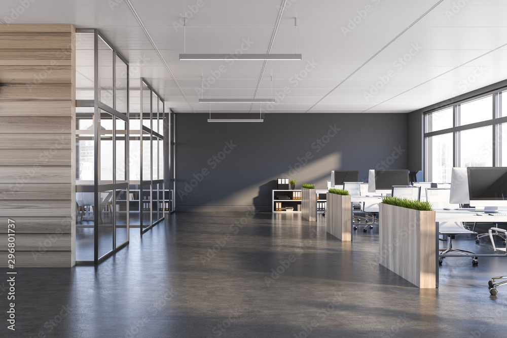 Fototapeta Gray and dark wood open space office interior