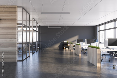 Fototapeta Gray and dark wood open space office interior obraz