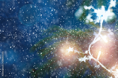 Poster Bleu nuit Snowy glittering winter landscape with space for products and decorations. Happy Christmas time.