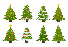 Christmas Trees Set Isolated O...