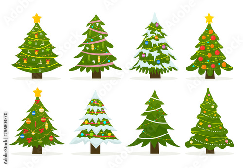 Christmas trees set isolated on white background. Colorful winter trees collection for holiday xmas and new year. Vector illustration.