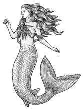 Mermaid Illustration, Drawing,...