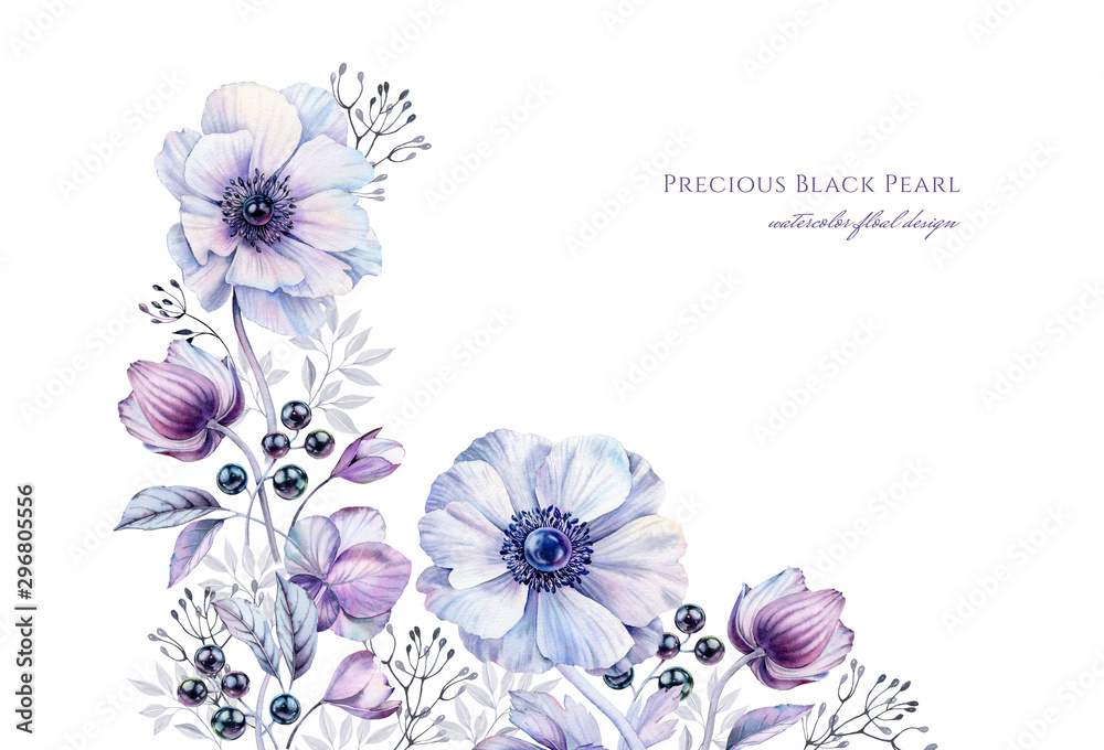 Fototapeta Watercolor white anemones with black pearls. Hand-painted realistic botanical floral illustration. Purple corner border isolated on white for wedding stationery design, card printing, banners