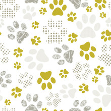 Seamless Pattern With Patterned Paws.